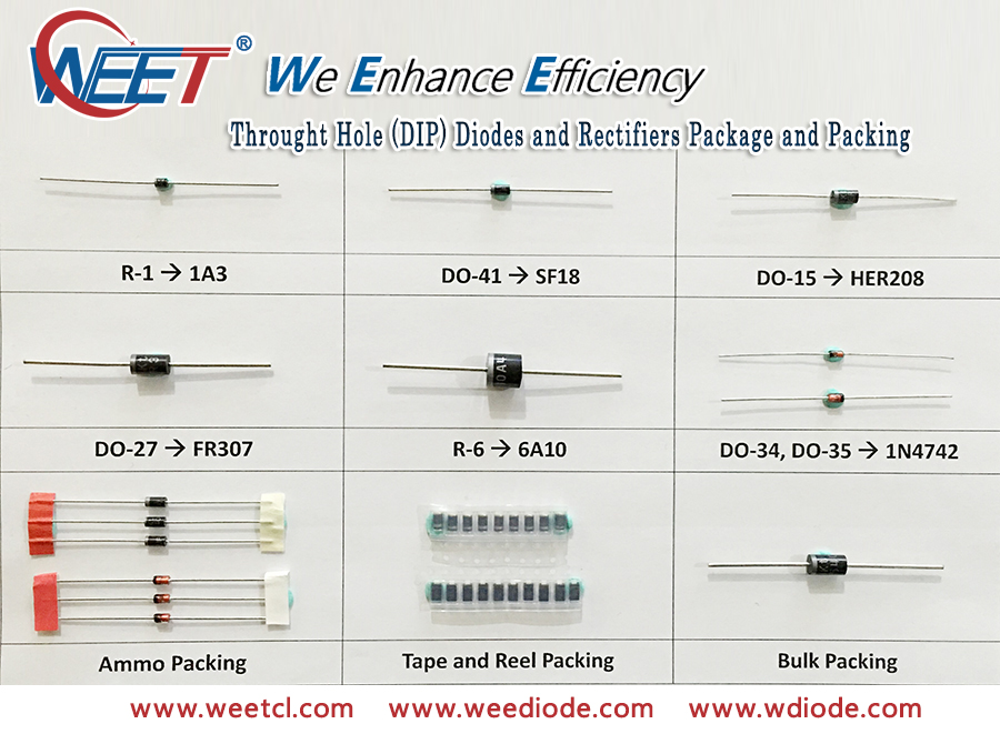 WEET Through Hole DIP Diodes Rectifiers Packing and Package Introduction Chart and Cross Table