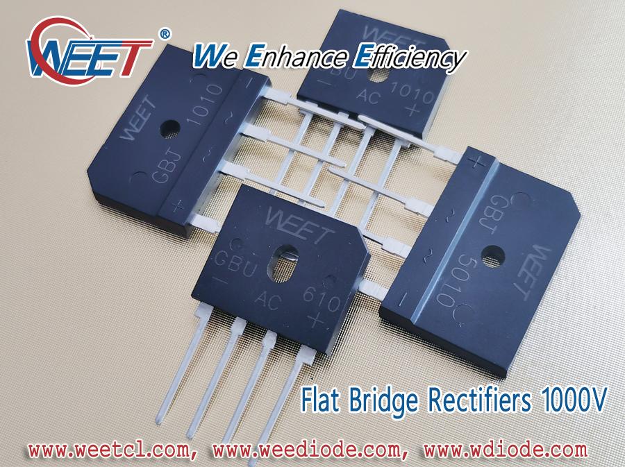 WEET Top and Strong Flat Bridge Rectifiers 1000V GBU610 GBU1010 GBJ1010 GBJ5010 Cross to Taiwansemi